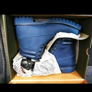 """New Timberland Mens 6"""" Inch Navy Boots Sz 11"""